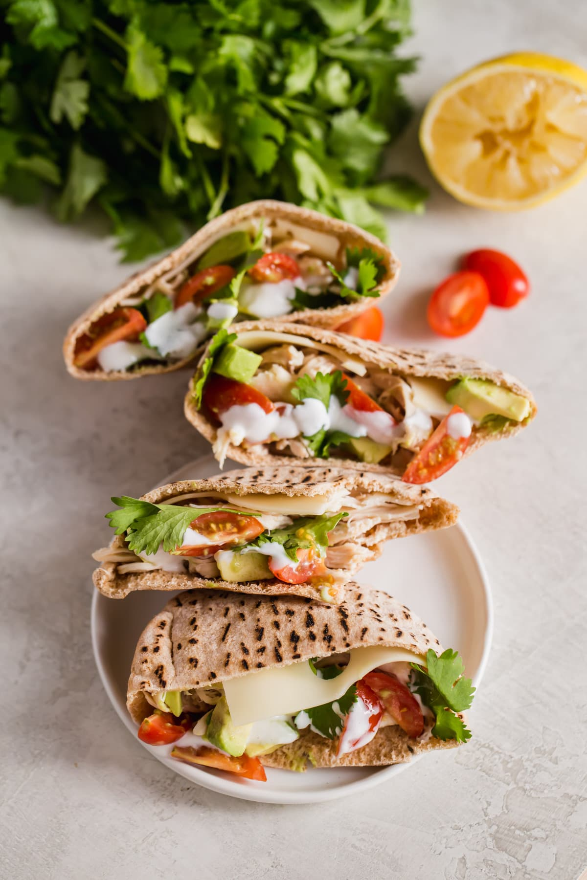 avocado chicken pita pockets