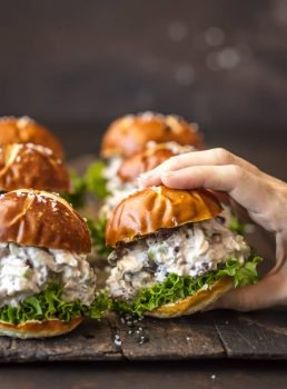 HEALTHY CHICKEN SALAD SLIDERS are perfect for an easy lunch or for parties. This healthy chicken salad sandwich recipe is made with greek yogurt to save calories!