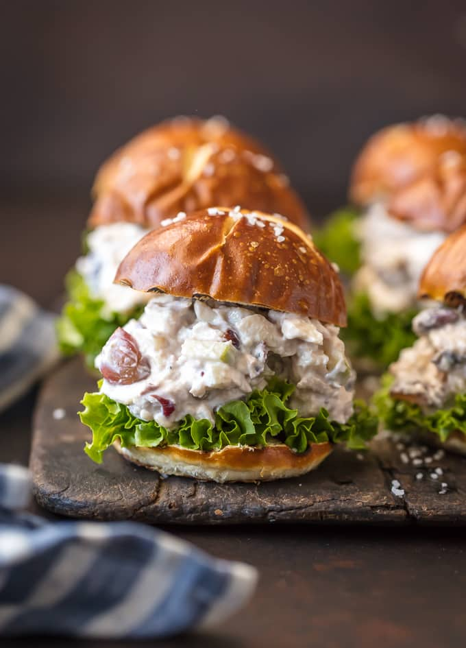 Healthy chicken salad recipe on sliders