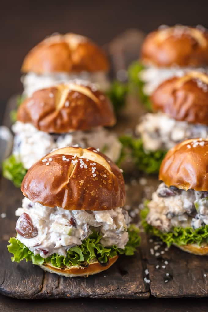 Healthy chicken salad sandwich recipe on slider buns with lettuce