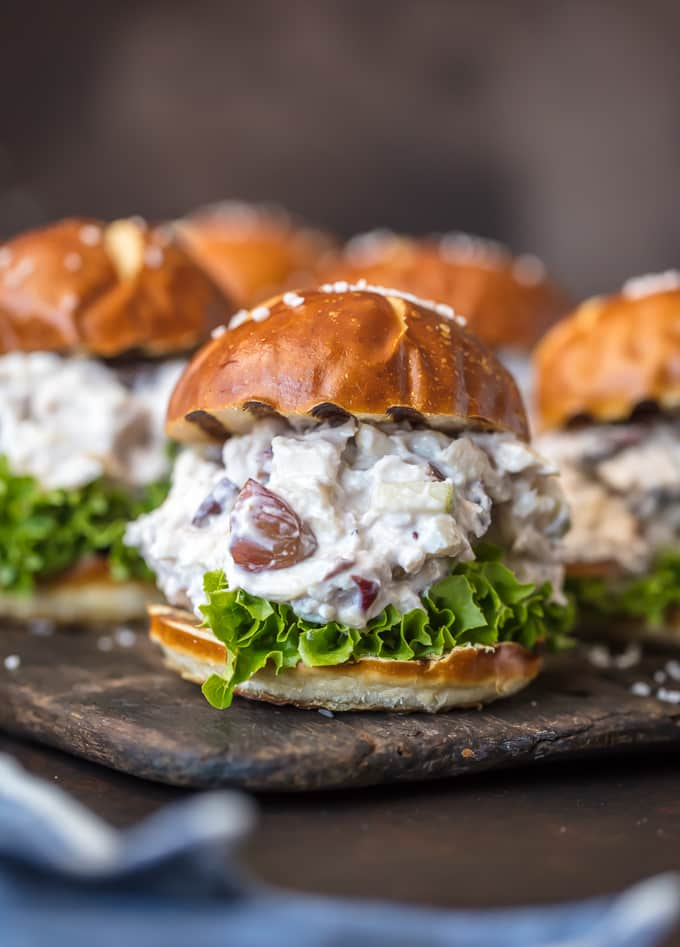 Healthy chicken salad sliders on wheat buns