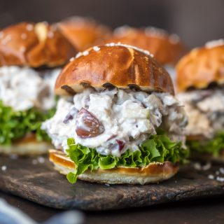 HEALTHY CHICKEN SALAD SLIDERS are just what Summer ordered. So fun for showers, parties, or any get together. You can eat more than one because the base is greek yogurt...guilt free and delicious!
