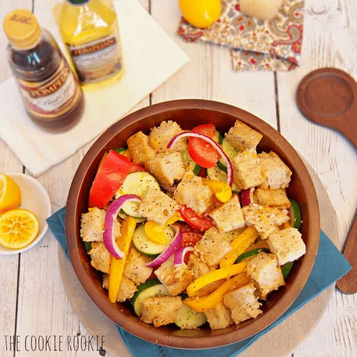 Zesty Bread Salad with Meyer Lemon Vinaigrette. Delicious and light summer salad! - The Cookie Rookie