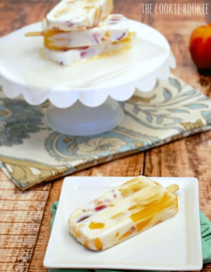 Peach Creamsicles, the perfect summer treat for kids and adults! HEALTHY, made with greek yogurt. YUM! - The Cookie Rookie