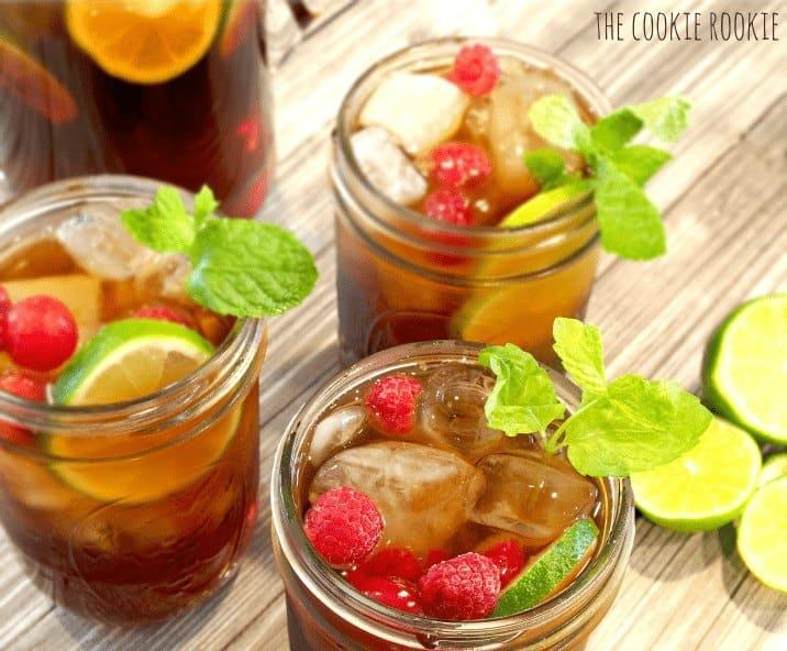 3 glasses of Raspberry Sweet Tea
