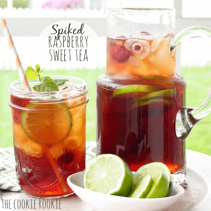 Spiked Raspberry Sweet Tea is the perfect summer treat! So refreshing - The Cookie Rookie
