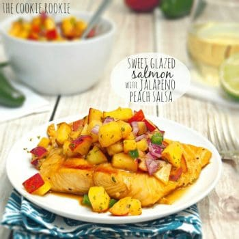 Grilled Salmon Fillet with Peach Salsa is the perfect easy salmon recipe for a healthy and delicious dinner. The sweet grilled salmon marinade combined with the spicy sweet peach salsa is just so tasty! You can have the best sweet soy glazed salmon recipe ready in no time at all!