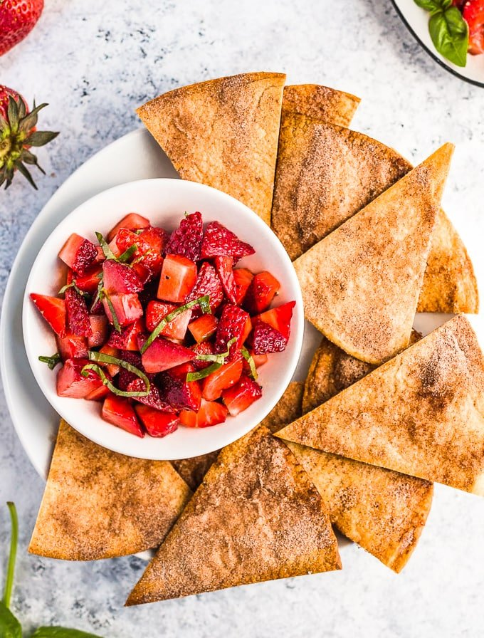 Strawberry Salsa with cinnamon tortilla chips