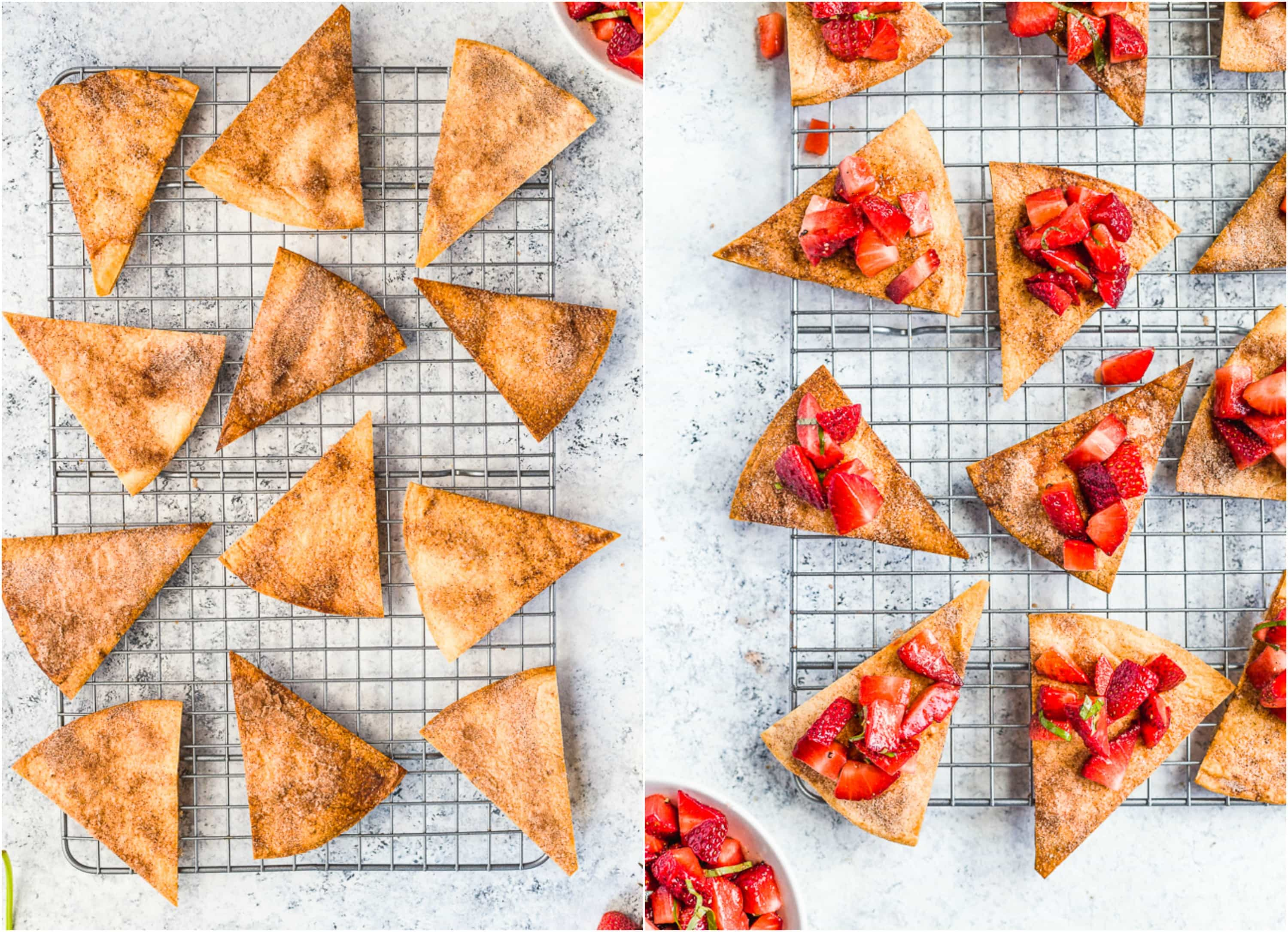 STRAWBERRY BASIL SALSA WITH CINNAMON SUGAR CHIPS is such a fun BBQ treat, perfect for any party! Healthy and so delicious.