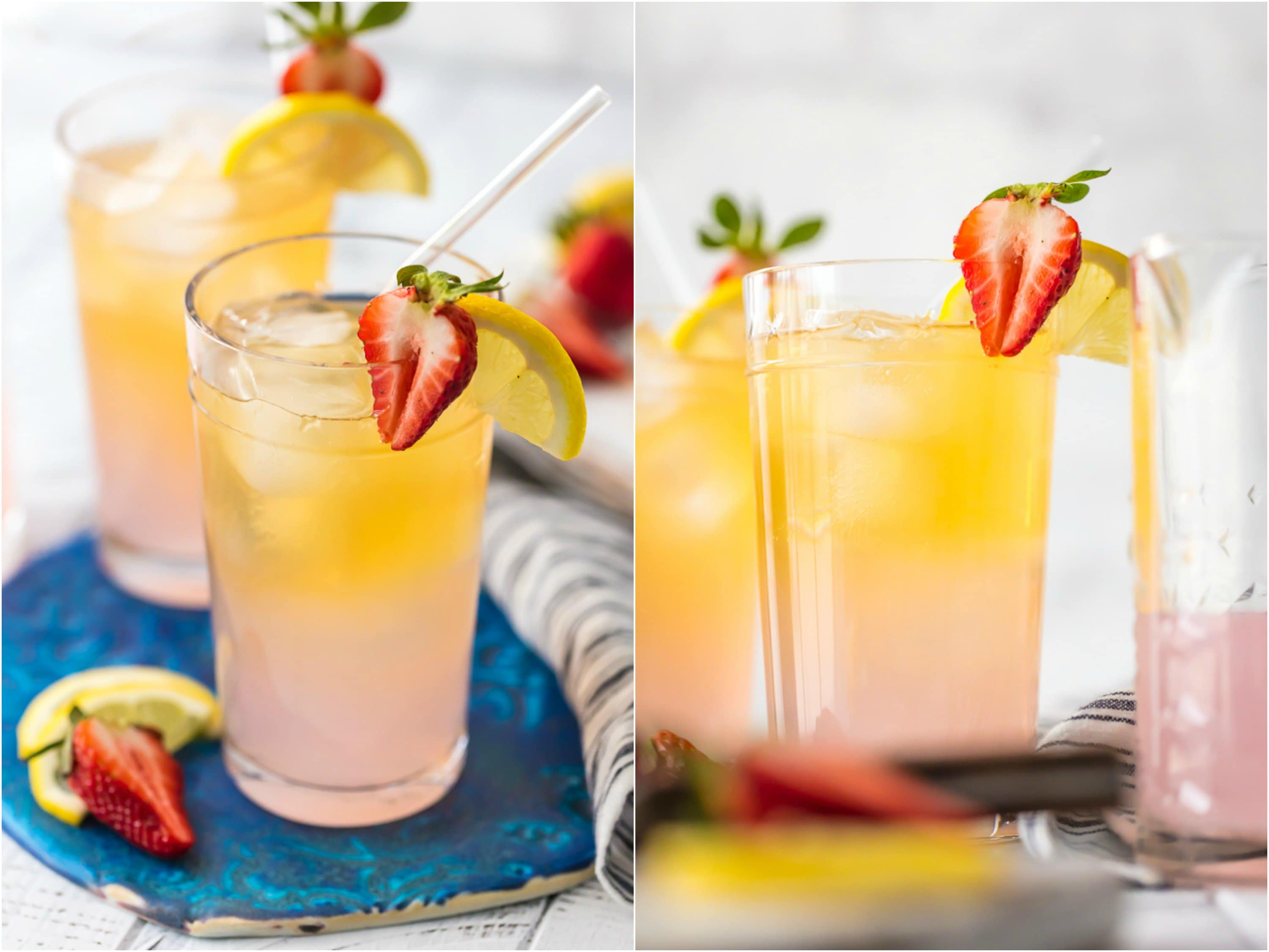 summer shandy topped with lemon and strawberries with tequila