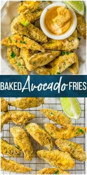 """Avocado Fries are a great healthy side dish or appetizer recipe just perfect for any occasion!We love these Healthy Baked Avocado Fries when we are craving something crispy and """"fried"""" but don't want the calories. These Baked Fried Avocado Sticks have all the good fats and none of the guilt. We love this fun and easy side the entire family will devour."""