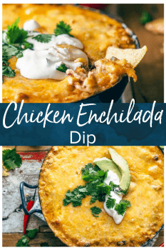 Chicken Enchilada Dip is one of the cheesiest and most delicious dips I've ever made. This easy Tex Mex dip recipe is filled with chicken, cream cheese, corn, beans, tomatoes, and enchilada sauce. It's sure to be an instant favorite on game day, or at any get-together!