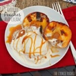 Grilled Peaches and Cream with Salted Caramel Sauce on plate