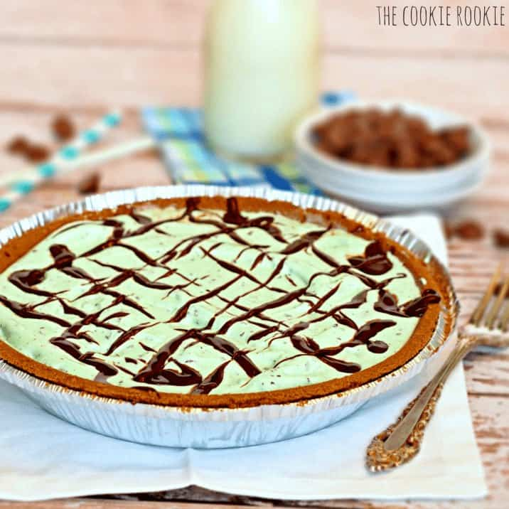 Easy Mint Chip Ice Cream Pie in the pan.