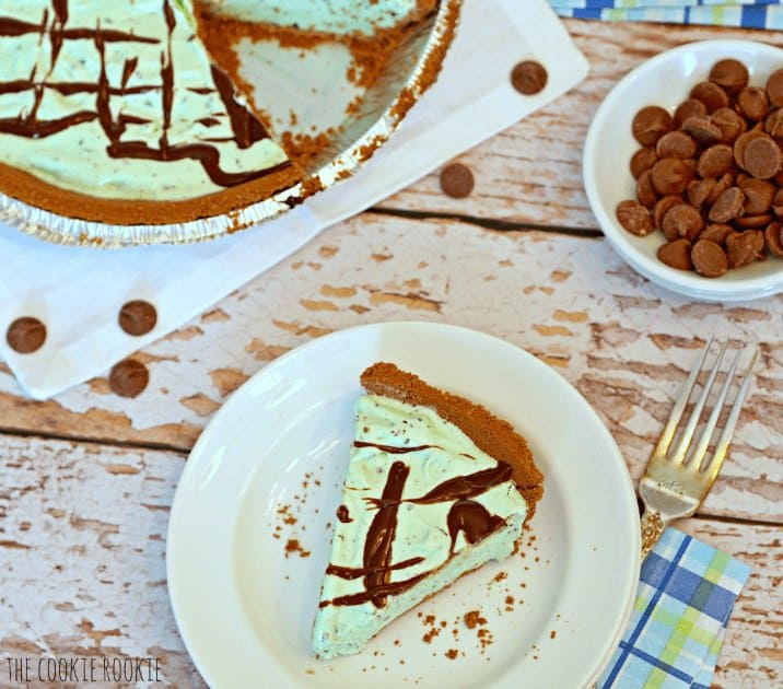 One slice of Mint Chip Ice Cream Pie on a plate.