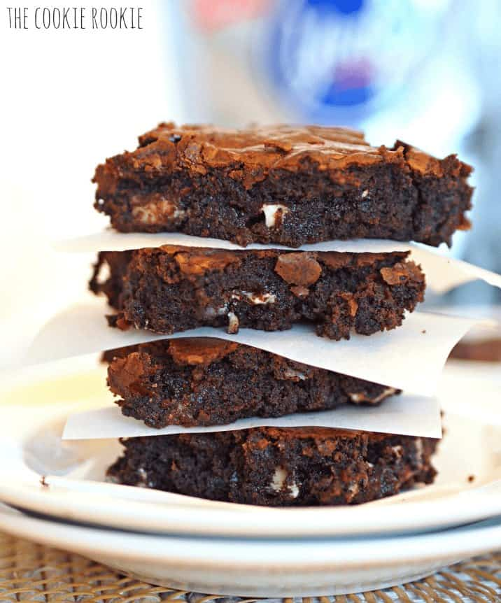 Dark Chocolate Brownies stuffed with York Peppermint Patties! Absolutely delicious. - The Cookie Rookie