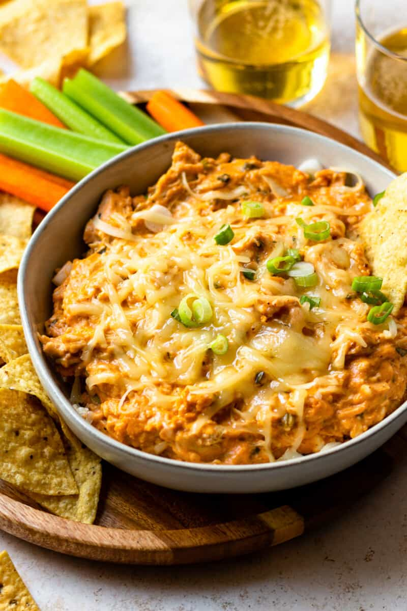 slow cooker bbq chicken dip in gray bowl