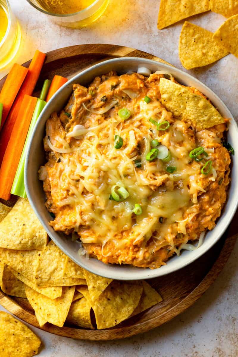 overhead slow cooker bbq chicken dip in gray bowl