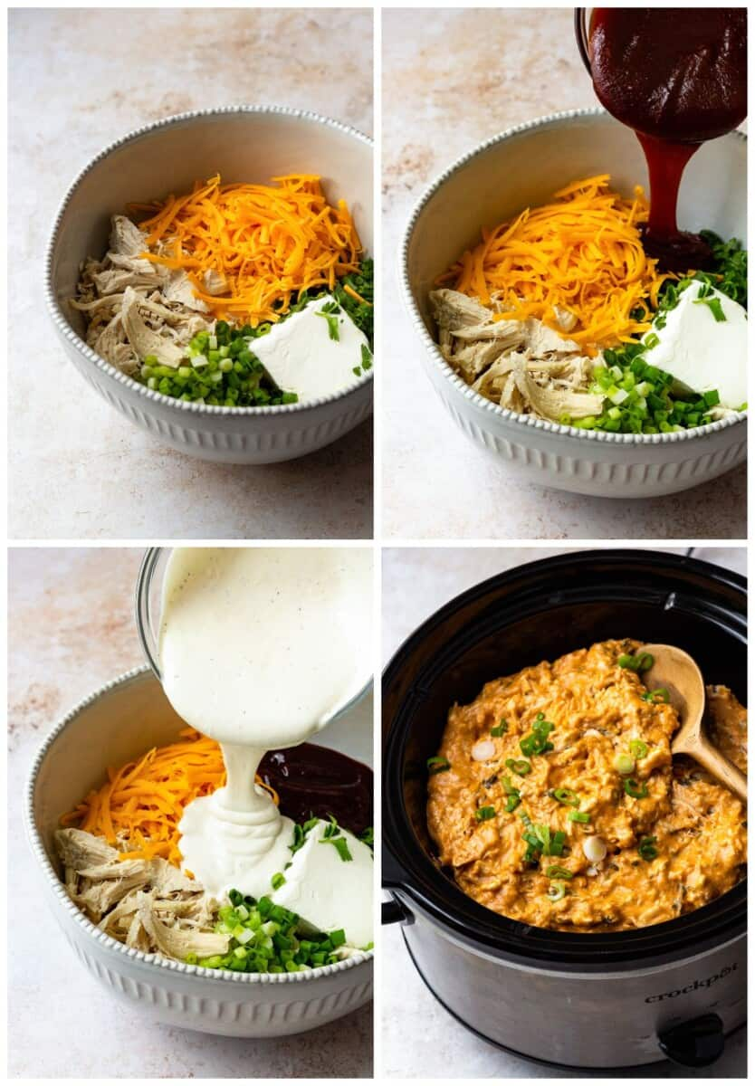step by step photos for how to make bbq chicken dip in a crockpot