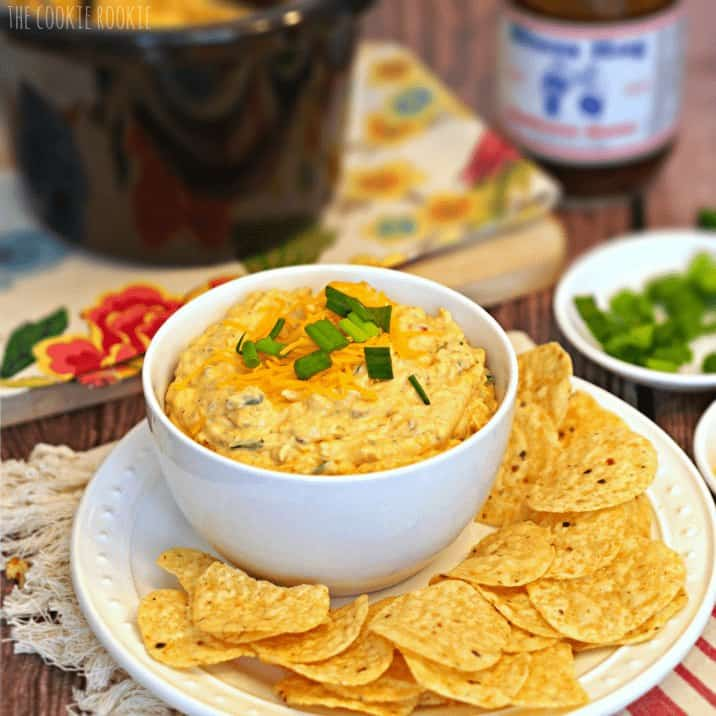 Crockpot BBQ Chicken Dip. So easy! Favorite tailgate food. - The Cookie Rookie