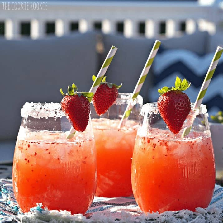 strawberry margarita punch in three glasses