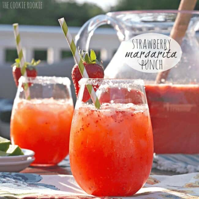 Strawberry Margarita Punch. The best party drink for a crowd. YUM! - The Cookie Rookie