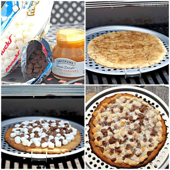 Grilled Salted Caramel S'mores Pizza Snickerdoodle Crust!! The perfect summer dessert! So easy and delicious! - The Cookie Rookie