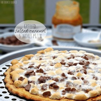 Grilled Salted Caramel S'mores Pizza is the perfect summer dessert! So easy and delicious! - The Cookie Rookie