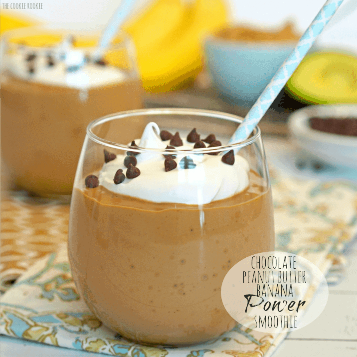 Chocolate Peanut Butter Banana Power Smoothie made with avocado! Great breakfast smoothie! - The Cookie Rookie