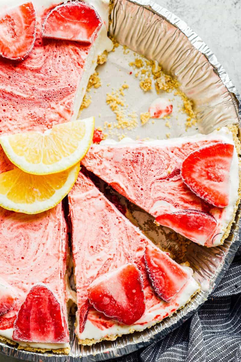 sliced strawberry lemonade pie