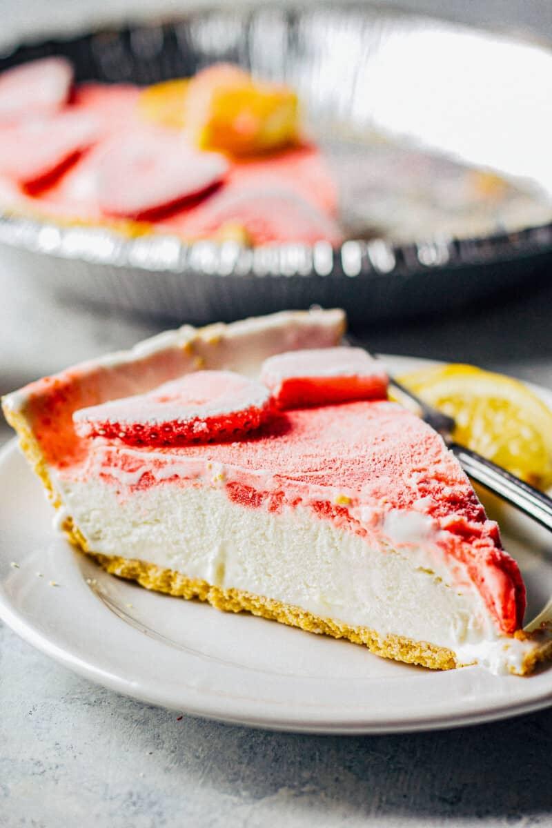 slice of strawberry lemonade pie