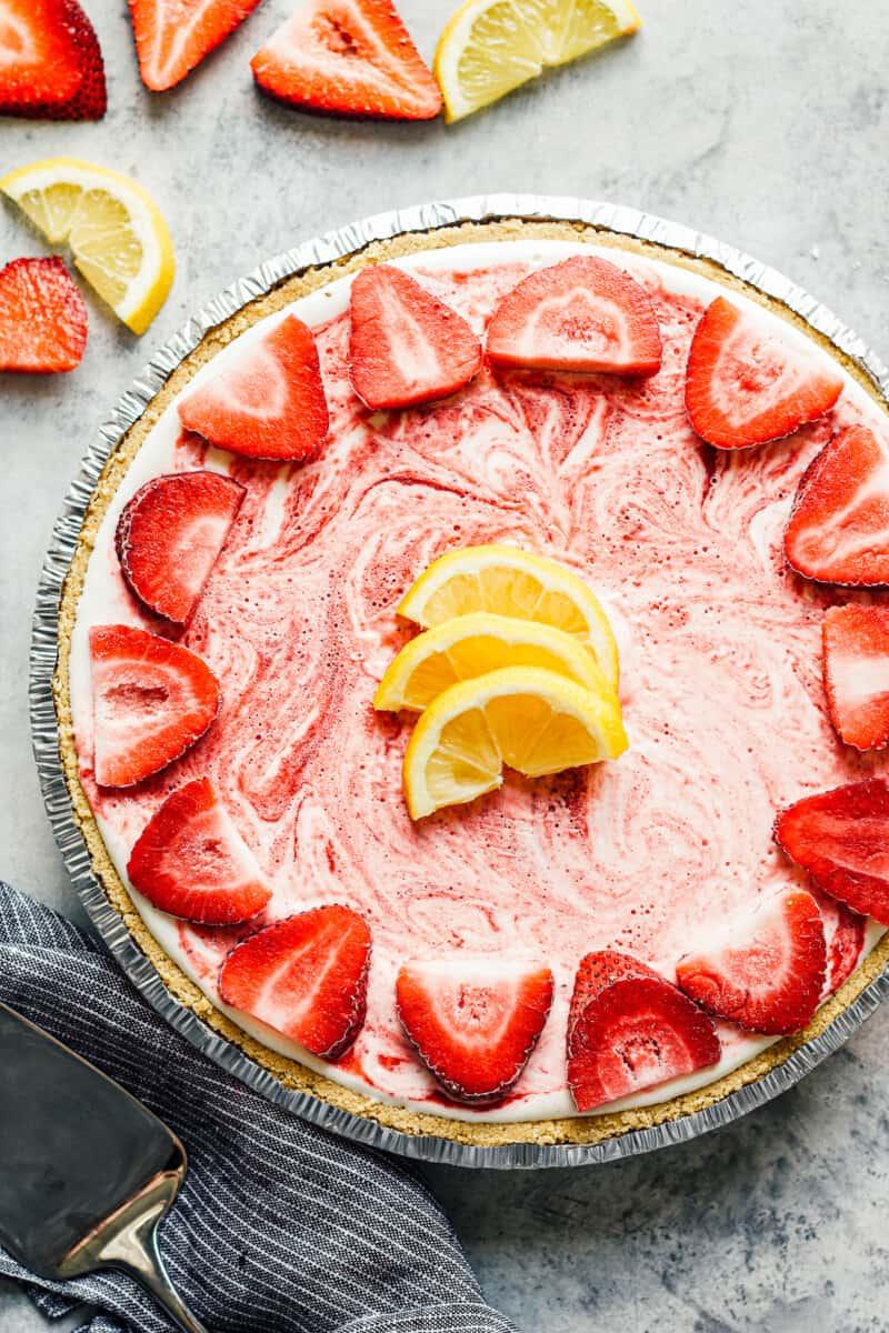 overhead strawberry lemonade pie