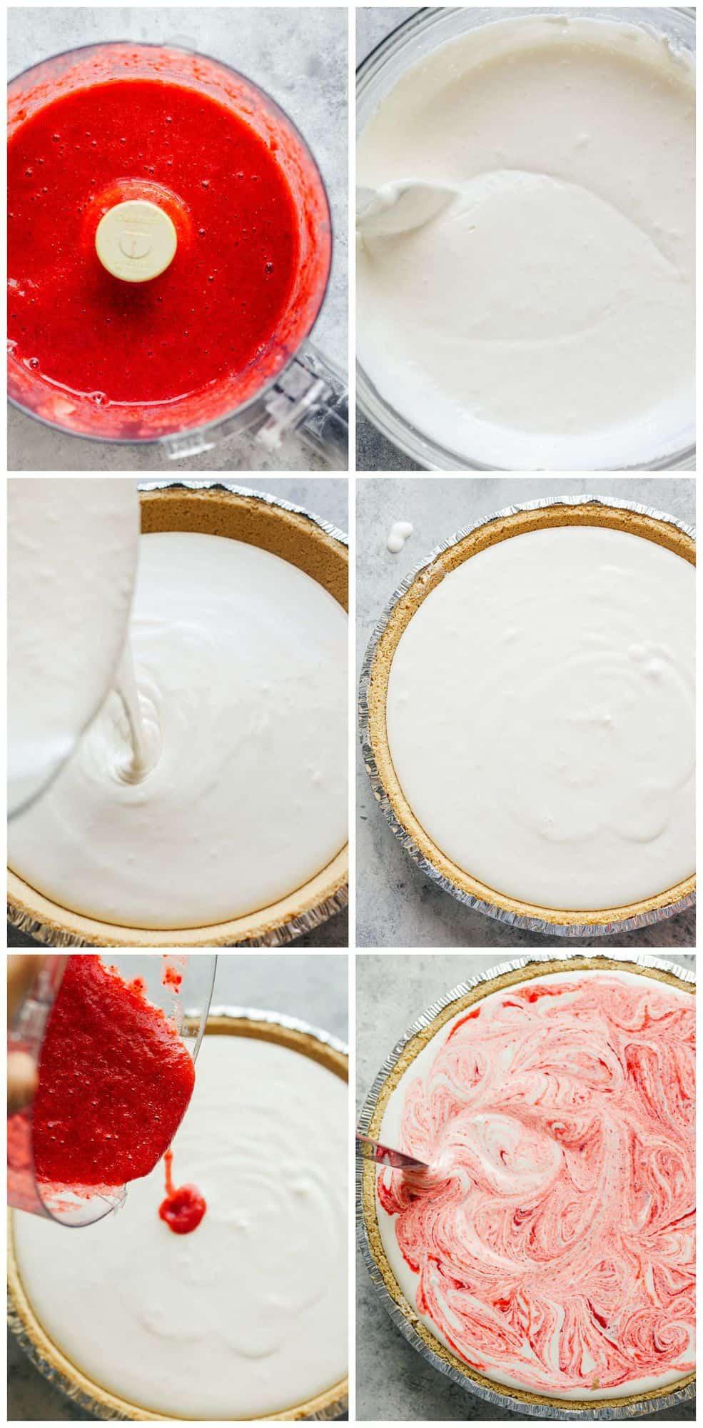 step by step photos for how to make strawberry lemonade pie