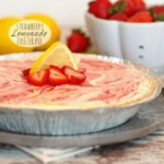 strawberry lemonade pie on a plate