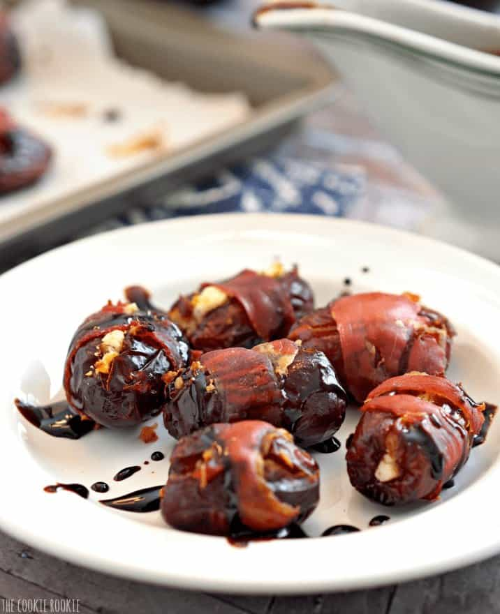 Prosciutto Wrapped Goat Cheese Stuffed Dates, the perfect party appetizer! - The Cookie Rookie