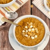 pumpkin pie oatmeal in a bowl with spoon