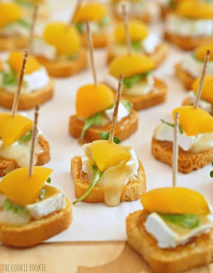 close up of mini apricot brie bites
