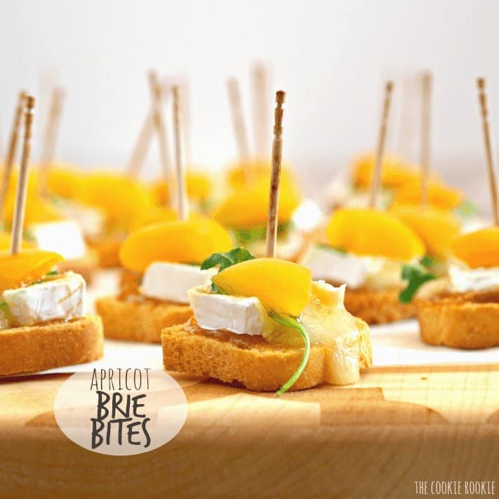 tray of mini apricot brie bites