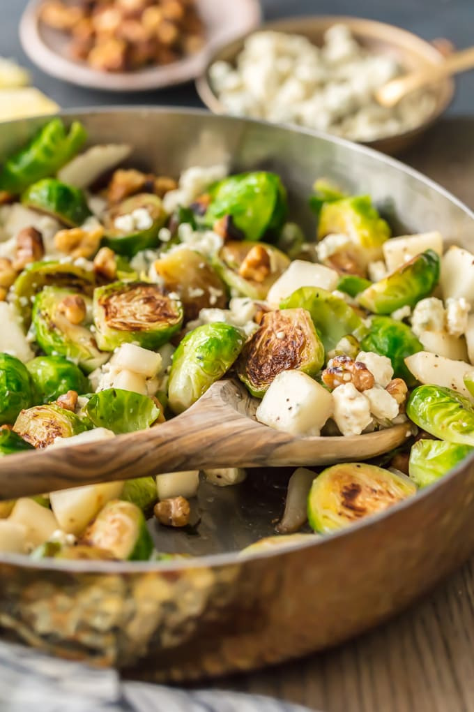 brussels sprouts, blue cheese, and walnuts, in a skillet
