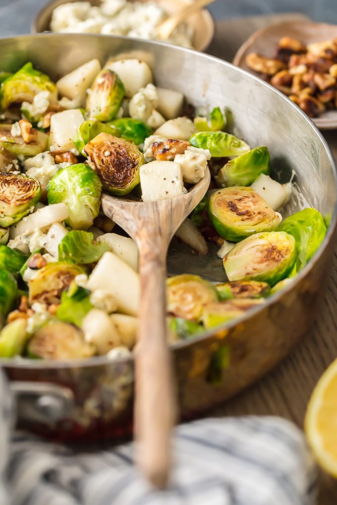 pan filled with brussels sprouts