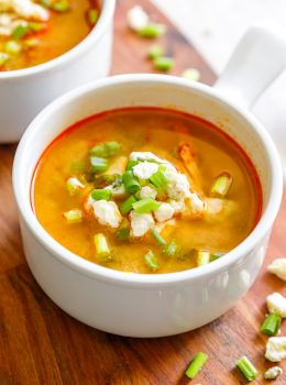 Buffalo Chicken Soup perfectly turns the delicious flavor of buffalo chicken wings into soup form. It's so amazing! Even better, this Skinny Buffalo Chicken Soup recipe has so much flavor and none of the calories. Eating in a healthy way doesn't have to mean you skip the flavor. I love this skinny soup recipe! Can you guess the secret ingredient?
