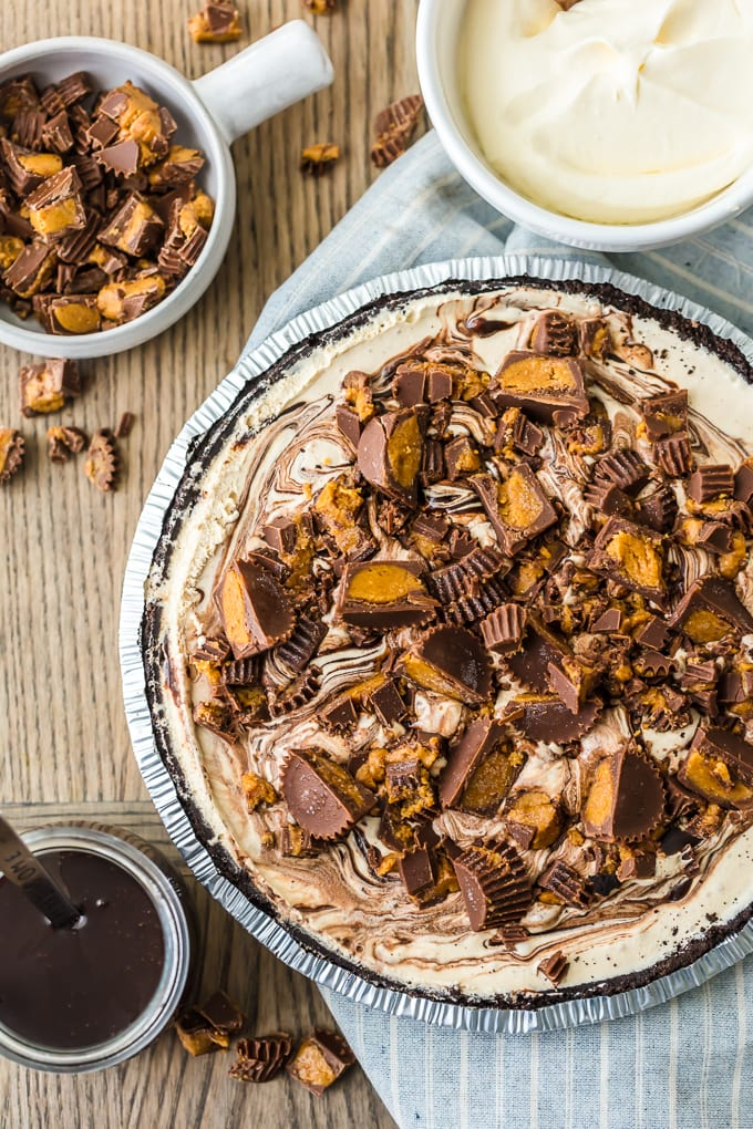 top of ice cream pie topped with peanut butter cups