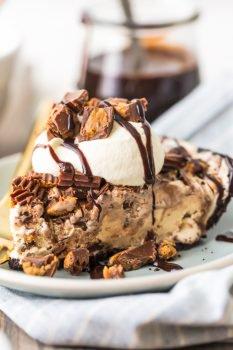 Peanut Butter Ice Cream Pie slice on plate
