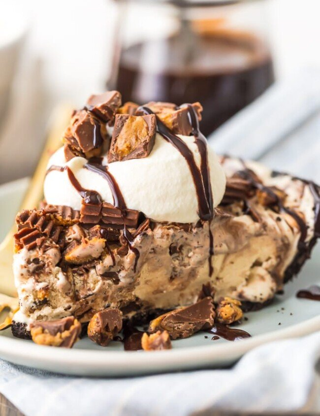 Peanut Butter Ice Cream Pie slice on plate
