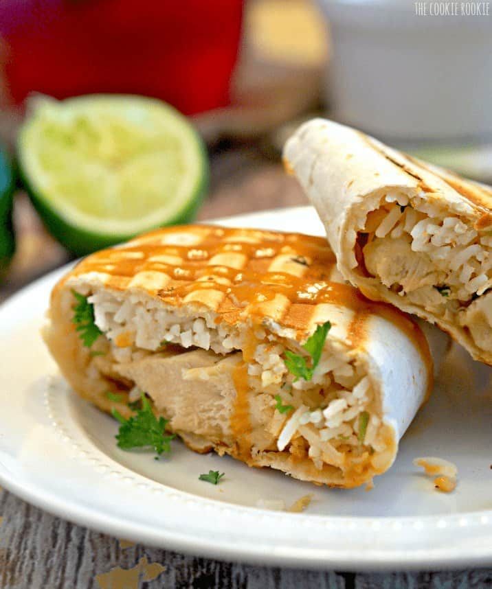 HEALTHY Coconut Lime Chicken Burritos with Spicy Sriracha Peanut Sauce! YUM!