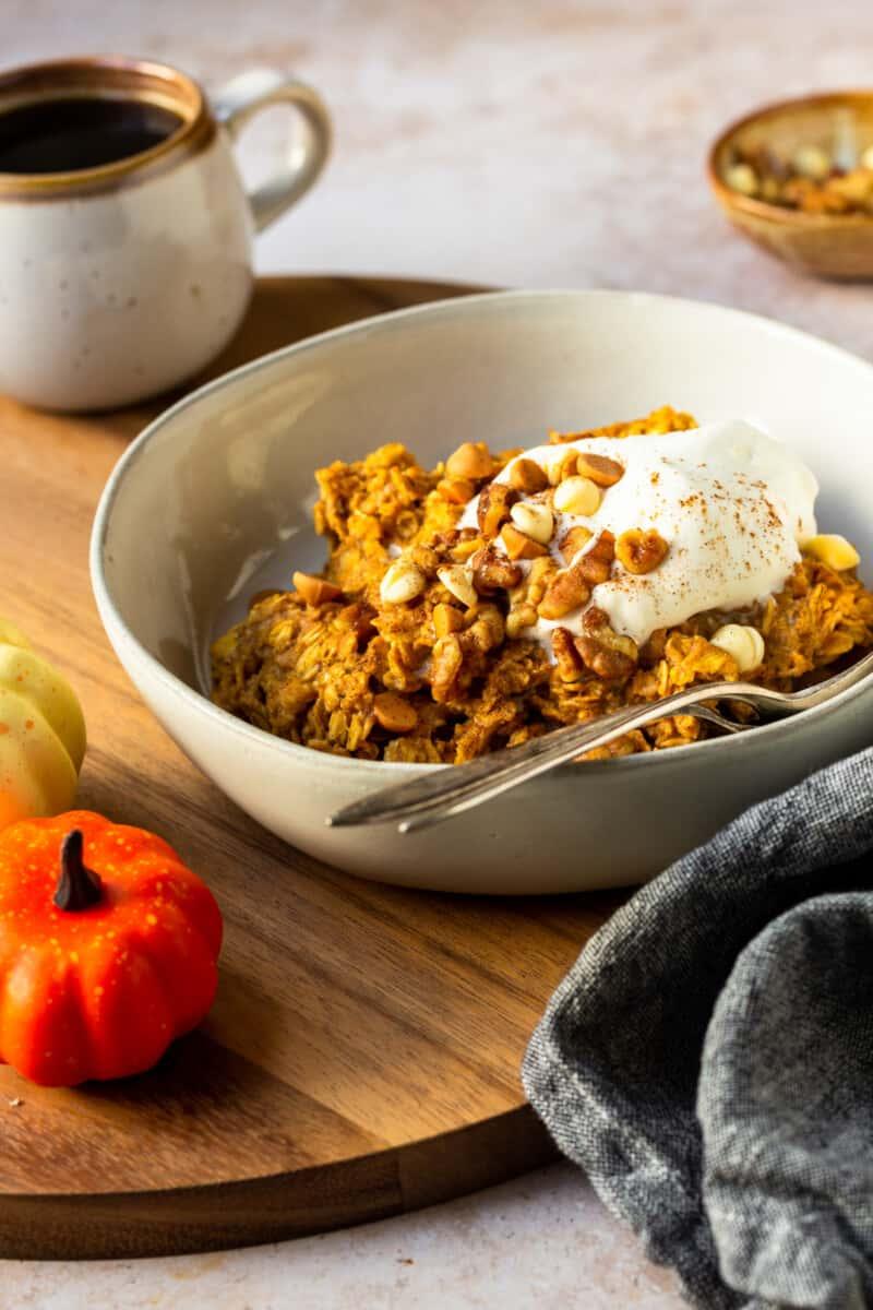 pumpkin oatmeal in white bowl