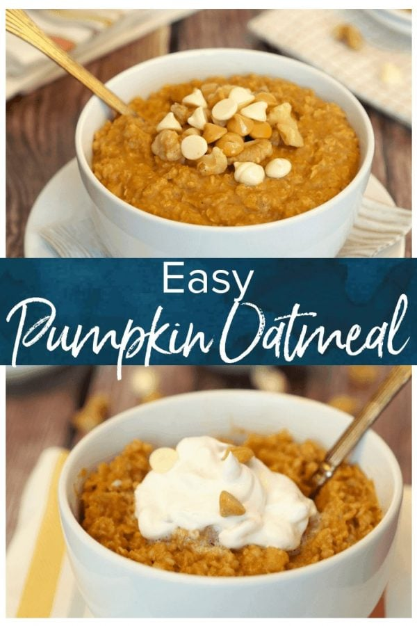 Pumpkin Pie Oatmeal is a healthy and delicious PERFECT breakfast for fall! I never knew how easy it was to make flavored oatmeal at home. You're going to love it!