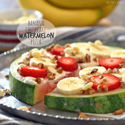 """Banana Cheesecake Watermelon """"Pizza""""! So creative and cute. Perfect sweet treat to make with kids - The Cookie Rookie"""