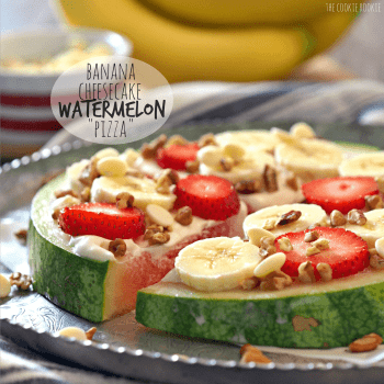 Banana Cheesecake Watermelon Pizza! So creative and cute. Perfect sweet treat to make with kids - The Cookie Rookie