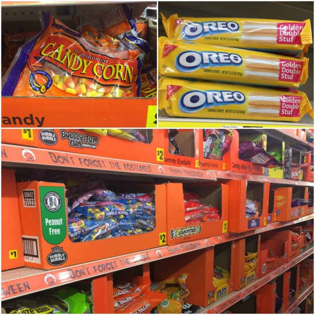 Shelves of candy corn, Oreos and other candy at Dollar General